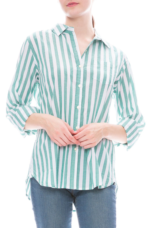 Trovata Grace Green and White Striped Classic Shirt