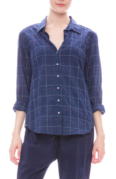 Xirena Scout Tattersall Shirt in Riviera Blue