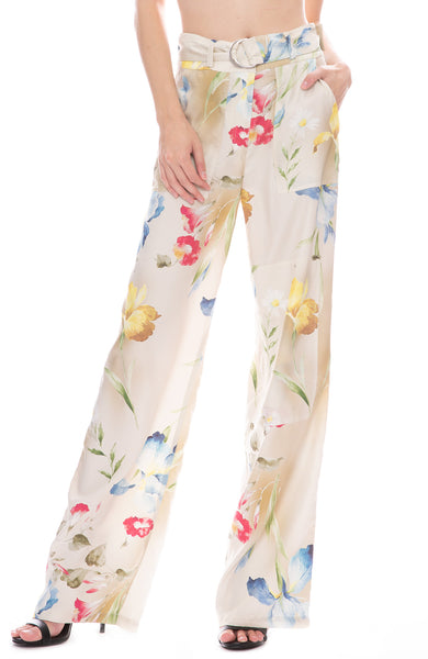John Elliott Laurel Floral Print Belted Trouser Pants