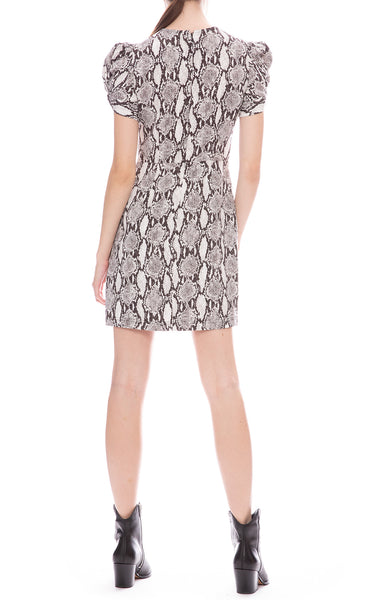 A.L.C. Brinkley Snake Print Puff Sleeve Mini Dress