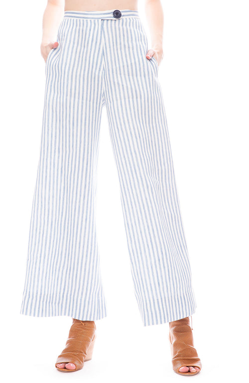 Icons A Line Cropped Pants in Indigo Stripe