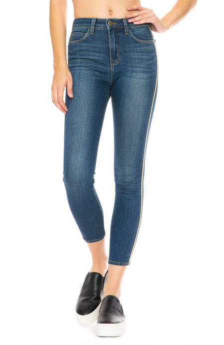 The Margot Racer Stripe High Rise Ankle Skinny in Neptune