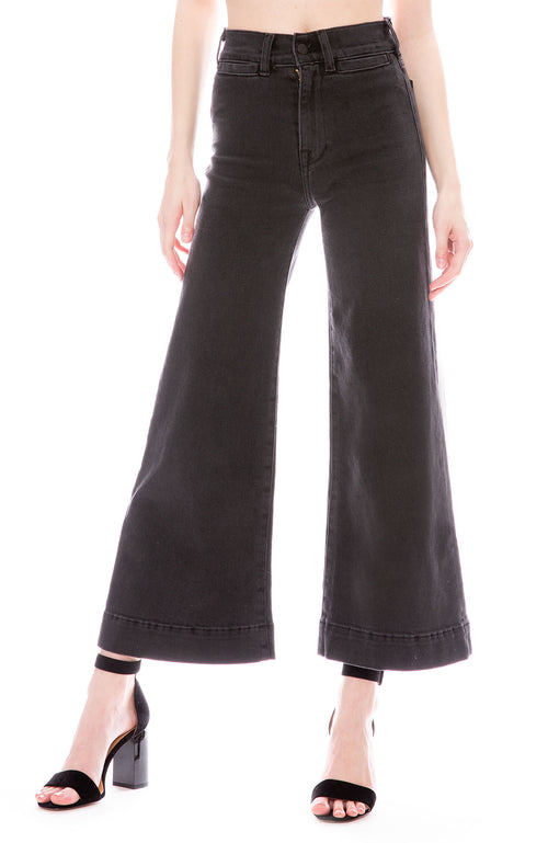 Icons 70's Wide Bell Cropped Jeans in Black Sand