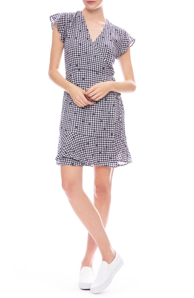 Rails Leanne Navy Gingham Wrap Dress