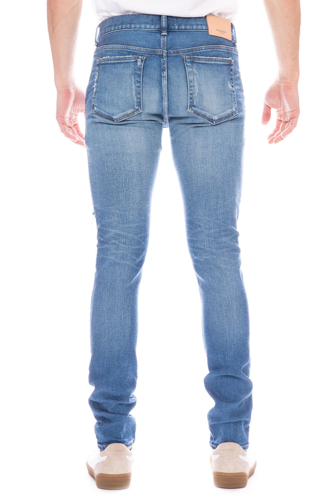Moussy Vintage Mens MV Snyder Skinny Jean with Distressing in Light Blue