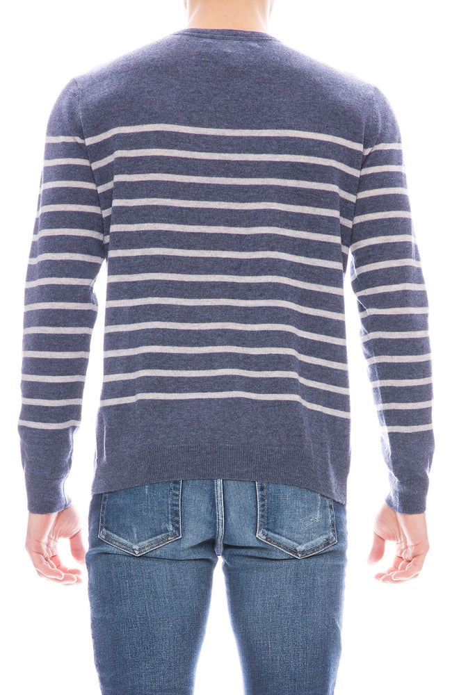 Today is Beautiful / Ron Herman Mens Exclusive Mariner Stripe Cashmere Sweater in Mood Indigo with Fog Grey Stripes