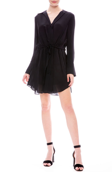 A.L.C. Isobel Tie Waist Dress Long Sleeve Mini Dress in Midnight Blue