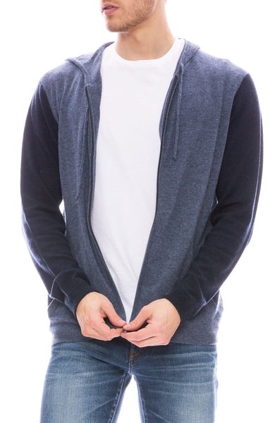Today is Beautiful / Ron Herman Mens Exclusive Color Block Zip Hoodie in Mood Indigo / Navy Blue