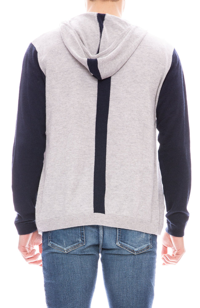 Today is Beautiful / Ron Herman Mens Exclusive Color Block Zip Hoodie in Fog Grey / Navy Blue