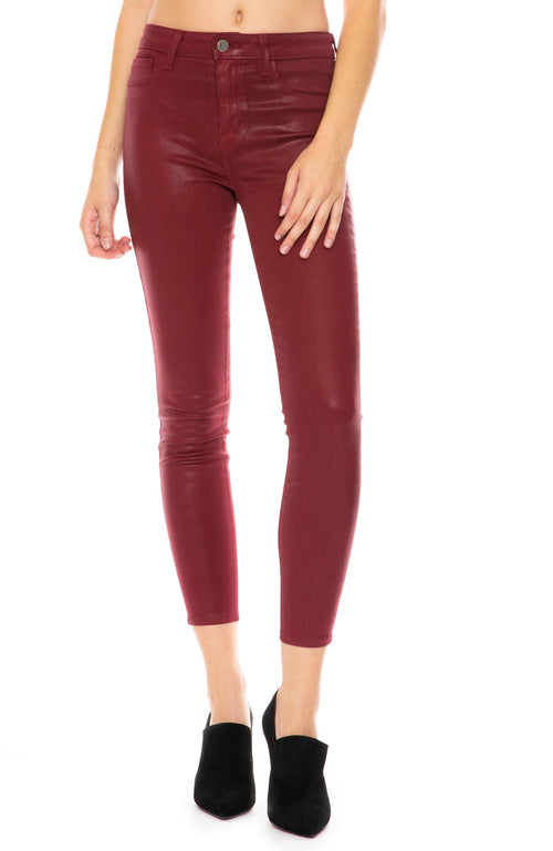 L'Agence Margot Coated High Rise Ankle Skinny in Berry