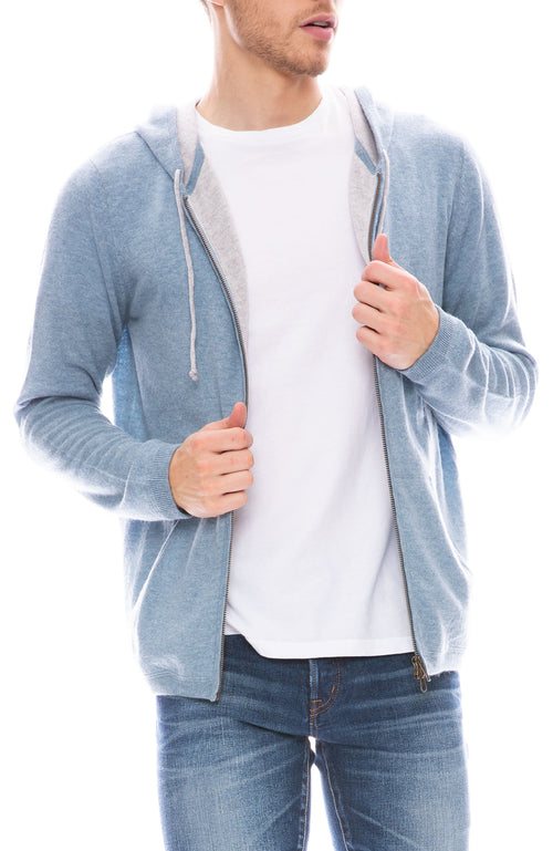 Today is Beautiful / Ron Herman Mens Exclusive Ultra Cashmere Zip Hoodie in Faded Denim / Fog Grey