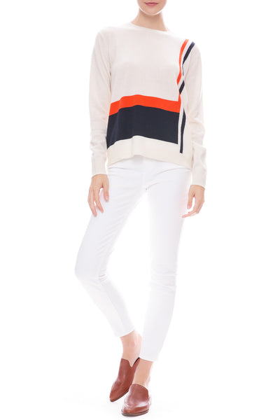 J Brand Alana High Rise Skinny Jean in Blanc with Kule Sweater