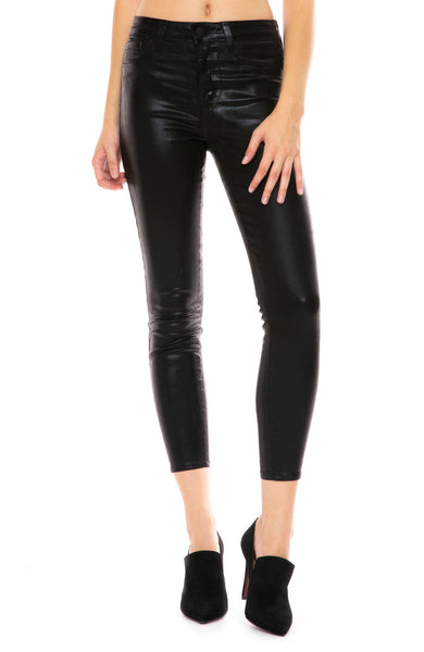 L'Agence Margot Coated High Rise Ankle Skinny in Black Foil