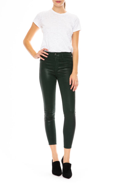 L'Agence Margot Coated High Rise Ankle Skinny in Evergreen