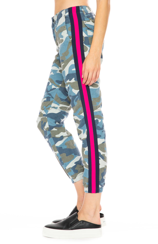Mother No Zip Cropped Misfit Pant in Army Blue Camo