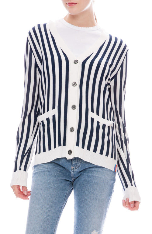 Kule Jax Stripe Cardigan in Navy / Cream