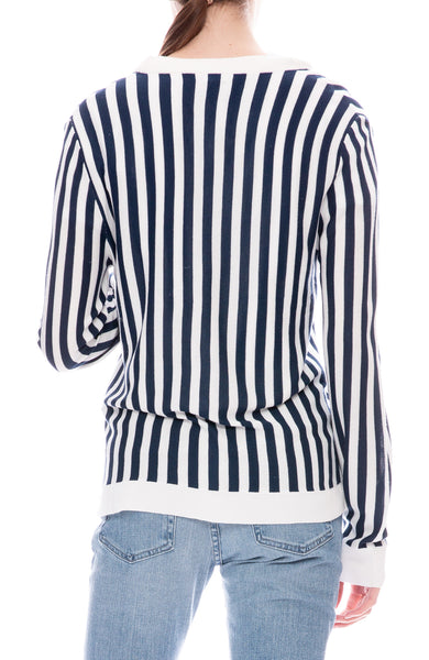 Kule Jax Navy and Cream Striped Cardigan