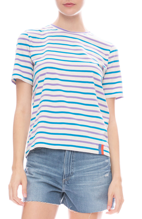 Kule Modern Stripe T-Shirt in Cream with Purple and Electric Blue Stripes
