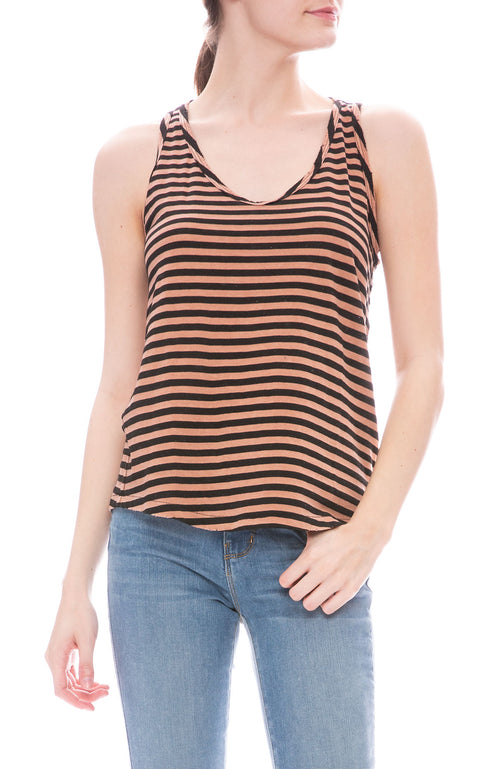 AMO Sunday Stripe Tank in Faded Adobe Stripe at Ron Herman