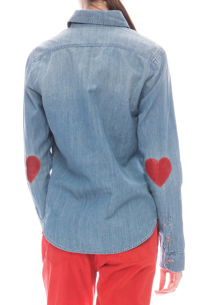 Mother Foxy Boxy Heart Elbow Denim Shirt