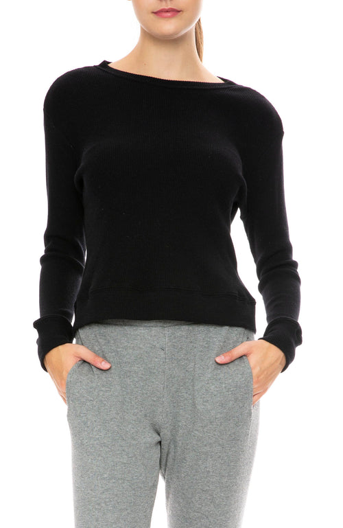 Enza Costa Cotton Cashmere Waffle Sweater in Smoke In Black