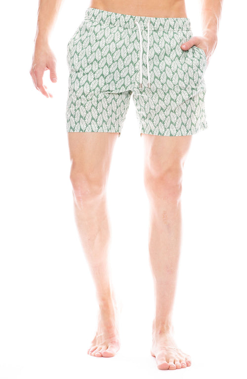 White Leaves Swim Short
