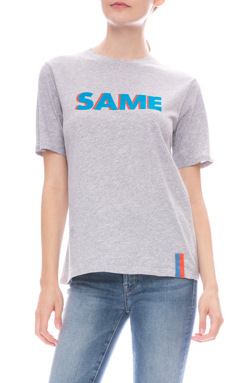 Kule Modern Tee in Heather Grey with 'Same' Print