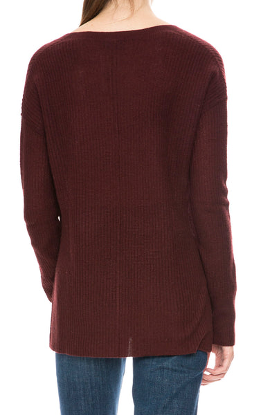 Line Jude V Neck Cashmere Sweater in Mulberry