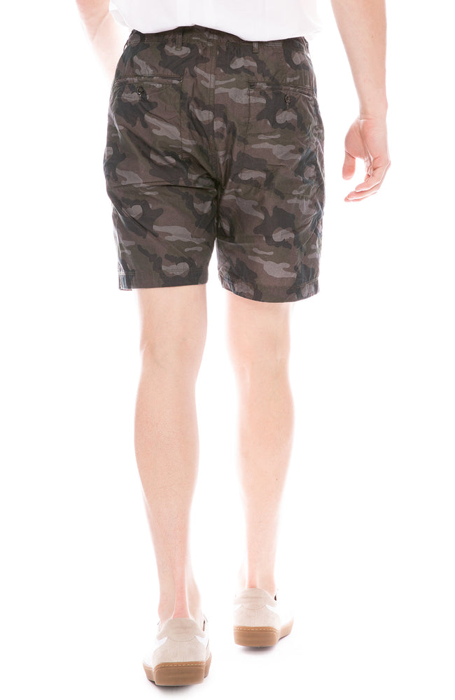 Relwen Charcoal Camouflage Print Jungle Fatigue Shorts