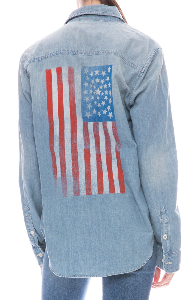 Mother Frenchie Denim Shirt in 'Merica