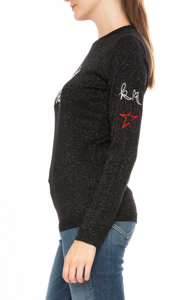 Bella Freud x Kate Moss Fairytale of New York Sweater in Black Sparkle