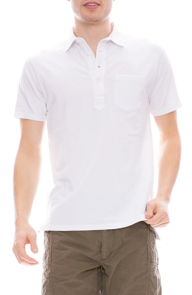 Relwen Pique Slot Short Sleeve Polo Shirt in White