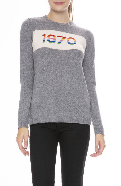 Bella Freud Cashmere 1970 Rainbow Sweater in Gray