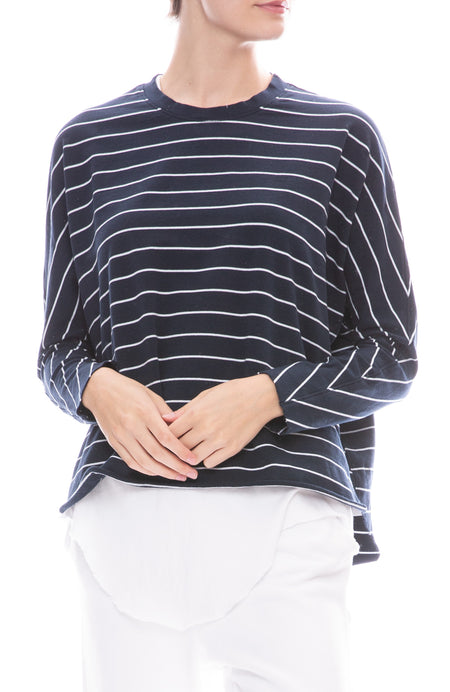 French Terry Long Sleeve Striped T-Shirt