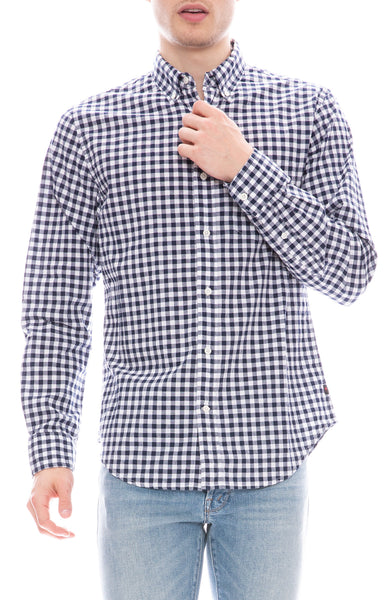 Relwen Mens Navy and White Gingham Print Cotton Linen Blend Button Down Shirt
