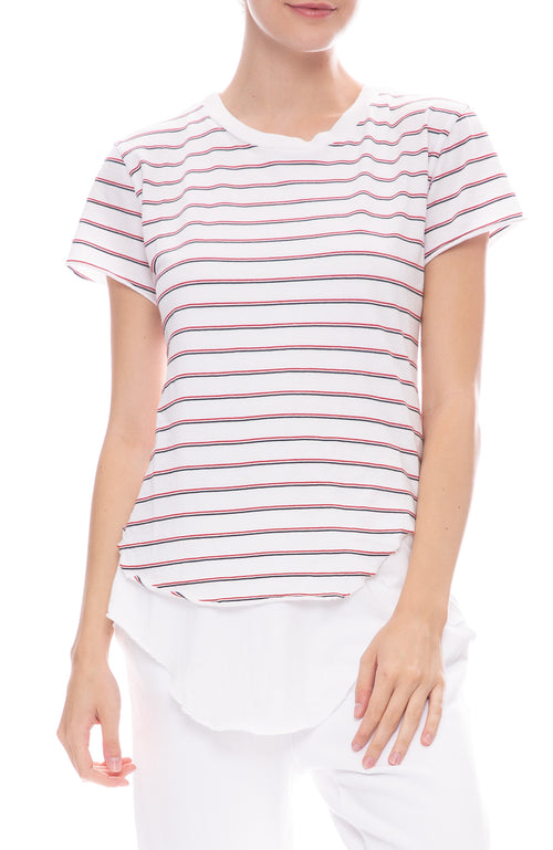 Frank & Eileen Tee Lab Stripe Round Hem T-Shirt in White with Blue and Red Stripes