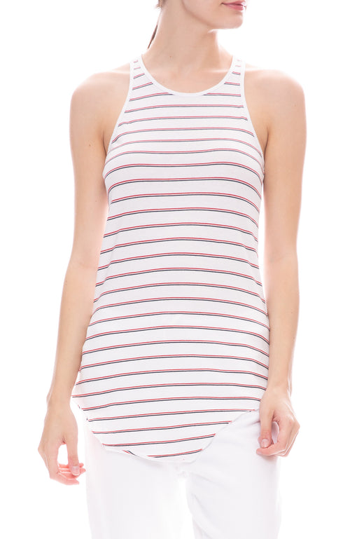 Frank & Eileen Tee Lab Stripe Jersey Tank in White with Blue and Red Stripes