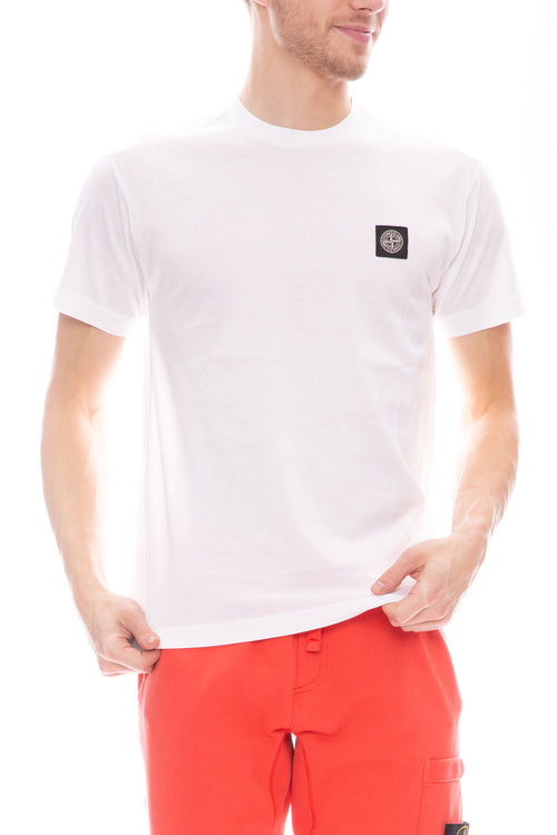 Stone Island Logo Patch Short Sleeve Jersey T-Shirt in White