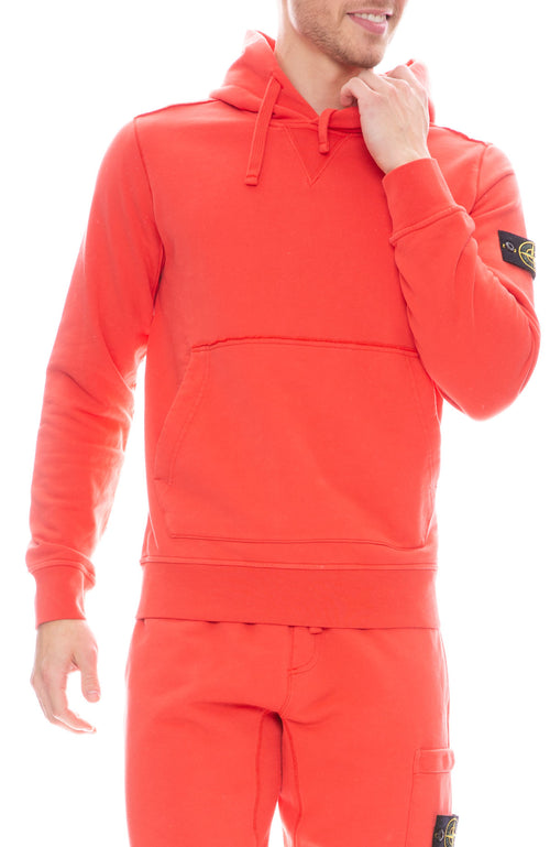Stone Island Mens Pullover Fleece Hooded Sweatshirt in Coral