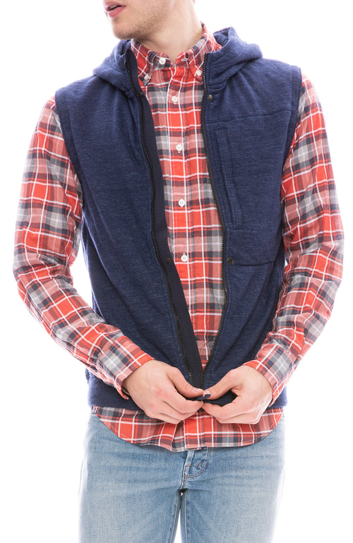 Relwen Windsurf Vest in Navy Marl with  Airtex Madras Shirt
