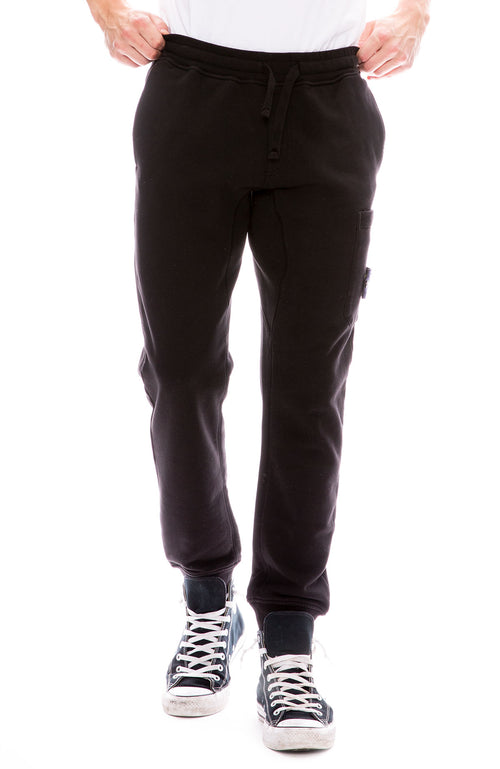 Stone Island Cargo Pocket Fleece Sweatpants in Black