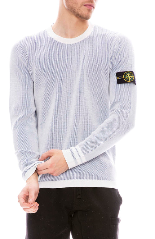 Stone Island Bicolor Cotton Crew Sweater with Logo Sleeve Patch in Plaster