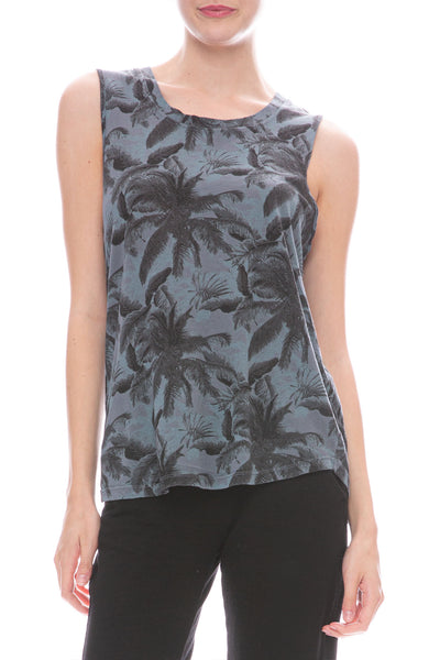 Monrow Palm Muscle Tank in Vintage Black