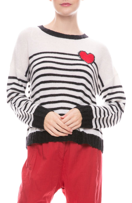 Perci Bretton Stripe Heart Sweater