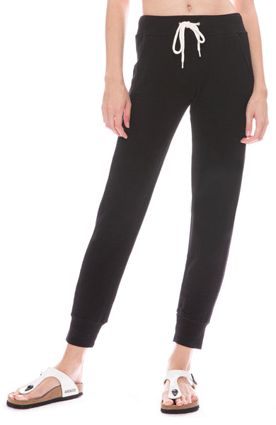 Monrow Sporty Sweatpants with Mesh Sides in Black