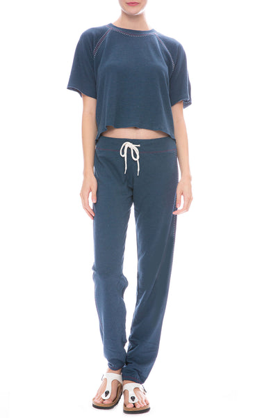 Monrow Contrast Stitch Sweatpants and Cropped Short Sleeve Sweatshirt in Vintage Blue