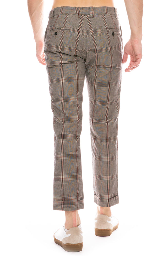 Gabardine Cropped Plaid Trousers