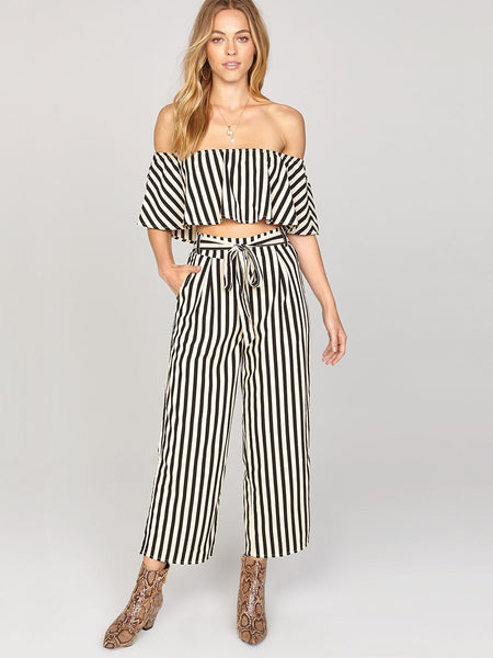 Total Flirt Ruffle Stripe Crop Top