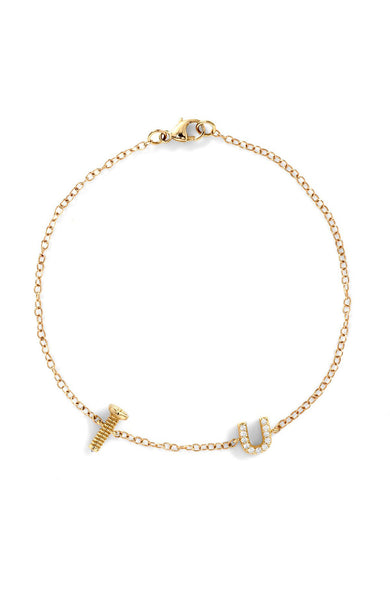 Alison Lou 14K Gold Screw with Sapphire Bottom and White Pave Diamond U Bracelet at Ron Herman