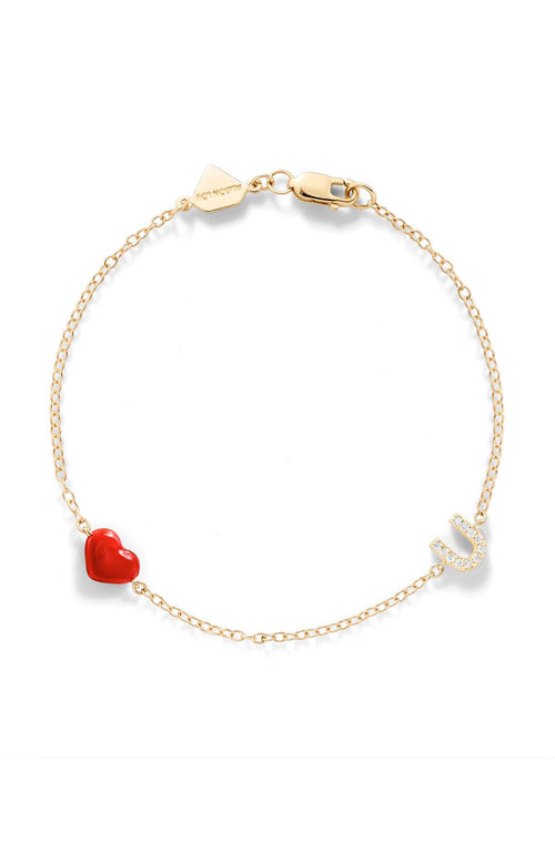 Alison Lou 14K Gold Enamel Heart and Pave Diamond U Bracelet at Ron Herman